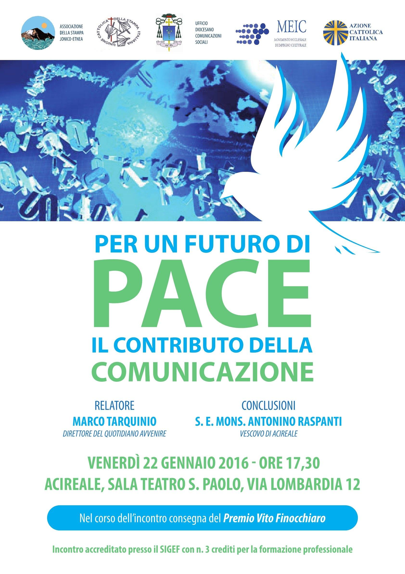 """Incontro pubblico col direttore di """"Avvenire"""" Marco Tarquino su pace e comunicazione"""