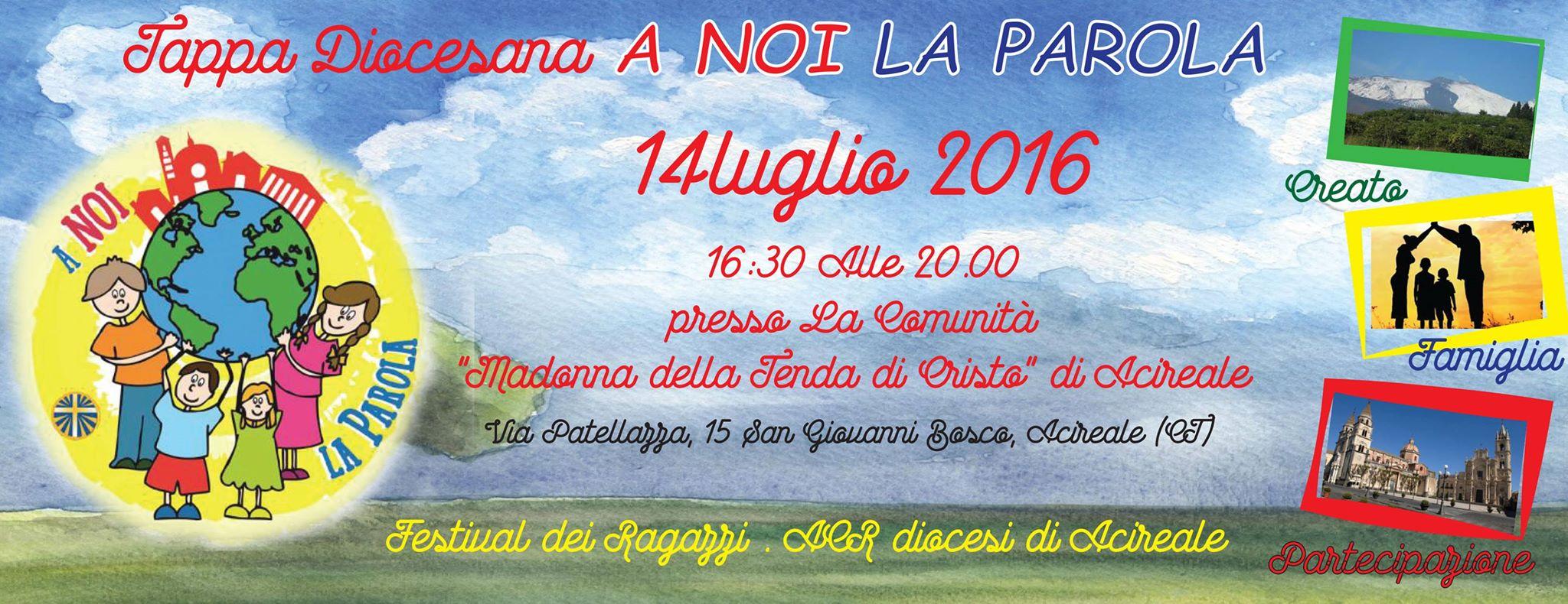 "Tappa Diocesana ""A NOI LA PAROLA"" Festival dei Ragazzi ACR  diocesi di Acireale"