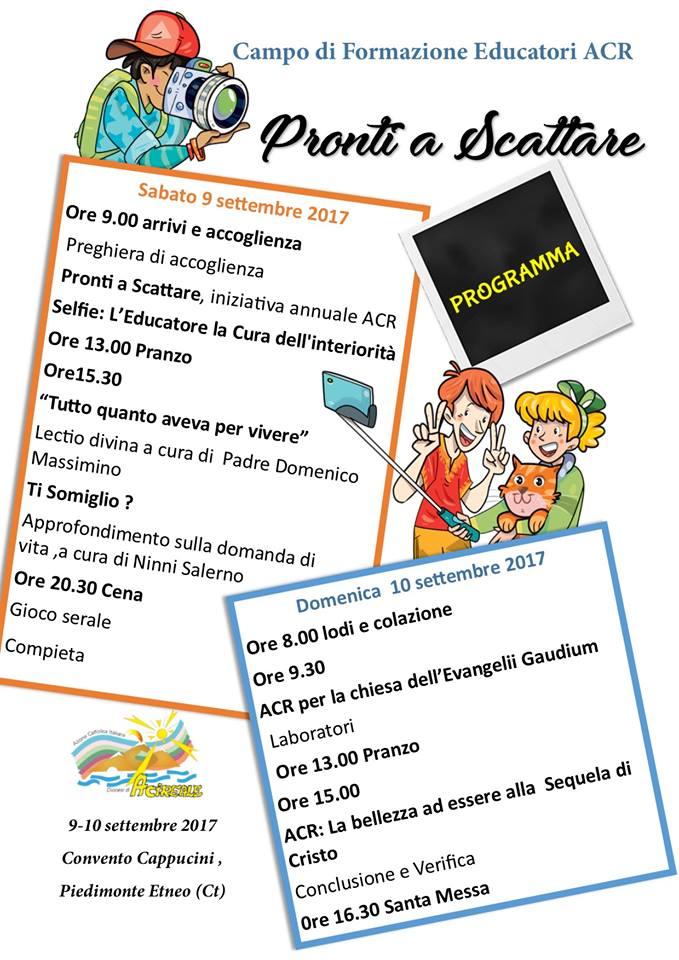 Campo educatori ACR PRONTI A SCATTARE 9 -10 SETTEMBRE
